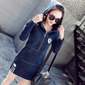 2017 spring autumn women hooded denim dress long sleeve letter package hip slim Elasticity casual pocket female jeans dresses