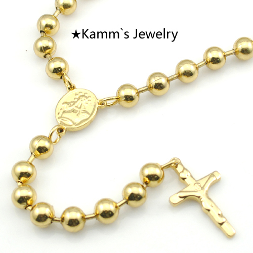 Promotion Fashion gold rosary necklace wholesale stainless steel