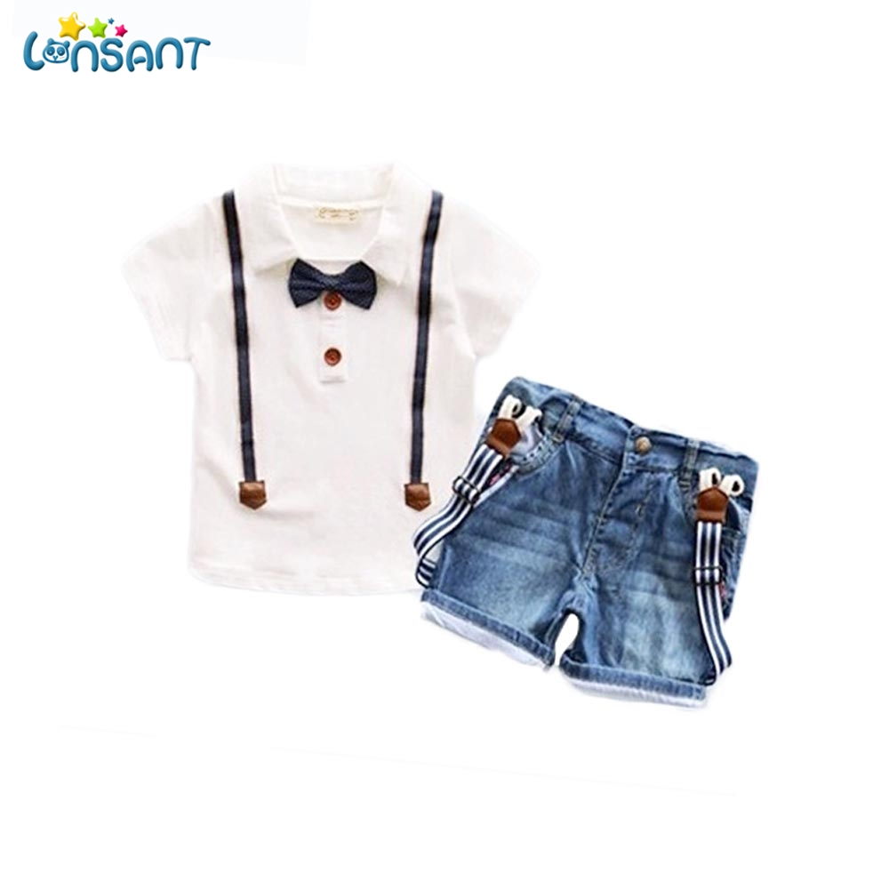LONSANT Boys Clothing Set Summer 2018 Bow-Knot Shirt +Jeans 2pcs Baby Boy Kids Baby Clothes Set Dropshipping