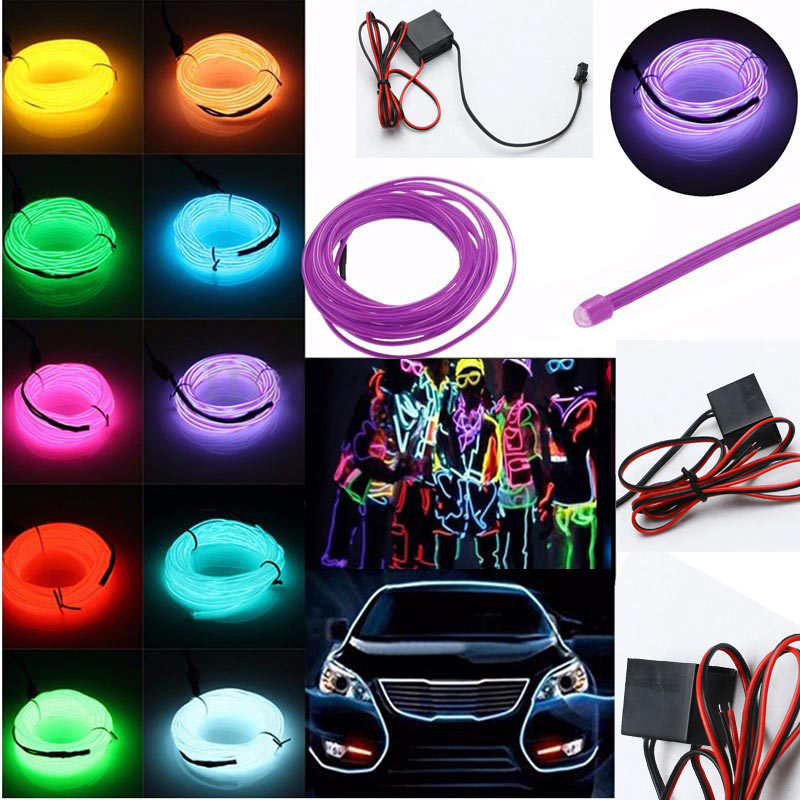 2M LED Flash Flexible Neon Light Glow EL Tube Wire Rope String Car DIY Party