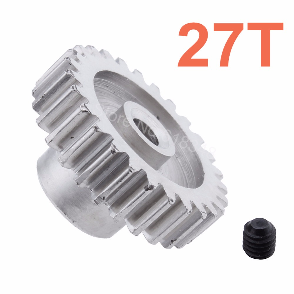 Steel Metal 27T Teeth Motor Pinion Gear Diameter Hole: 3.175mm For RC 1/18 WLtoys A959-B A969-B A979-B K929-B Car A959-B-15 1pcs universal metal walkera motor pinion gear puller remover w010 for rc helicopter