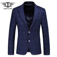 Plyesxale azul blazer hombres 2018 slim fit Hombre Plaid blazer Corea moda  traje formal chaqueta ropa de marca Q198 ac194d5d919