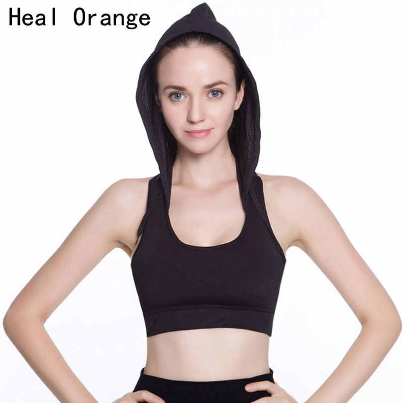 Heal Orange Hooded Running Yoga Bra Women Brand Sport Bras With Pad Top Sports Hall Top Fitness Top Sports For Womens Activewear