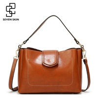 SEVEN SKIN Brand Women Leather Messenger Bag Quality Thread Top Handle Handbags For Female Casual Tote