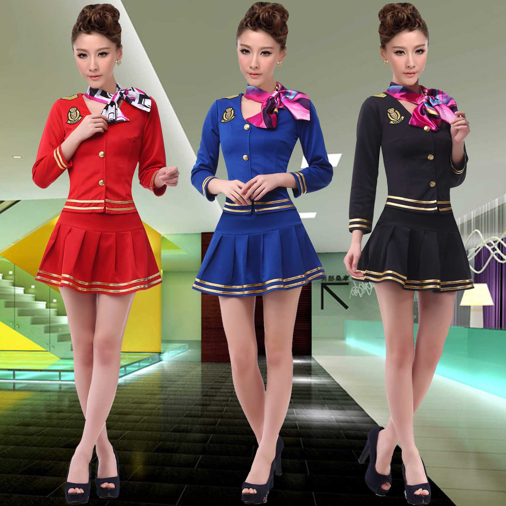 Online Shop long sleeved airline stewardess uniforms beautician