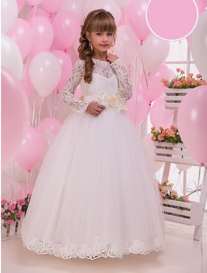 2017 New White Lace First Communion Dresses For Girls Applique Ball Gown Holy Communion Dresses 4pcs new for ball uff bes m18mg noc80b s04g