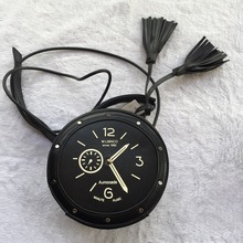Open Pockets Single Mobile Pocket Open Hard Character Female Tassel Bag, Handbag Messenger Bag Clock