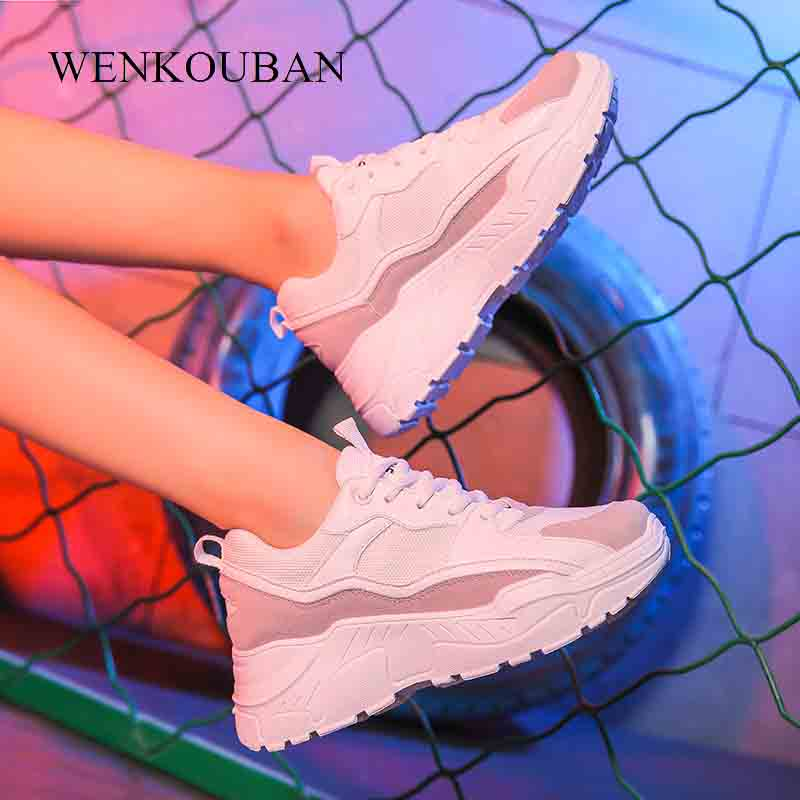 Women Sneakers 2019 Platform Trainers Ladies White Sneakers Breathable Casual Shoes Zapatillas Mujer Chaussures FemmeWomen Sneakers 2019 Platform Trainers Ladies White Sneakers Breathable Casual Shoes Zapatillas Mujer Chaussures Femme