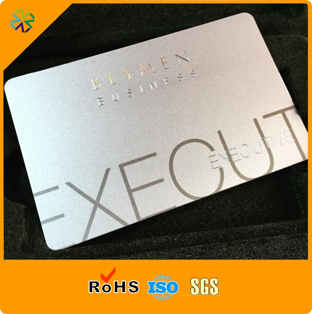 China Custom Wholesale PVC Business Card Printing With Silver Hot Stamping