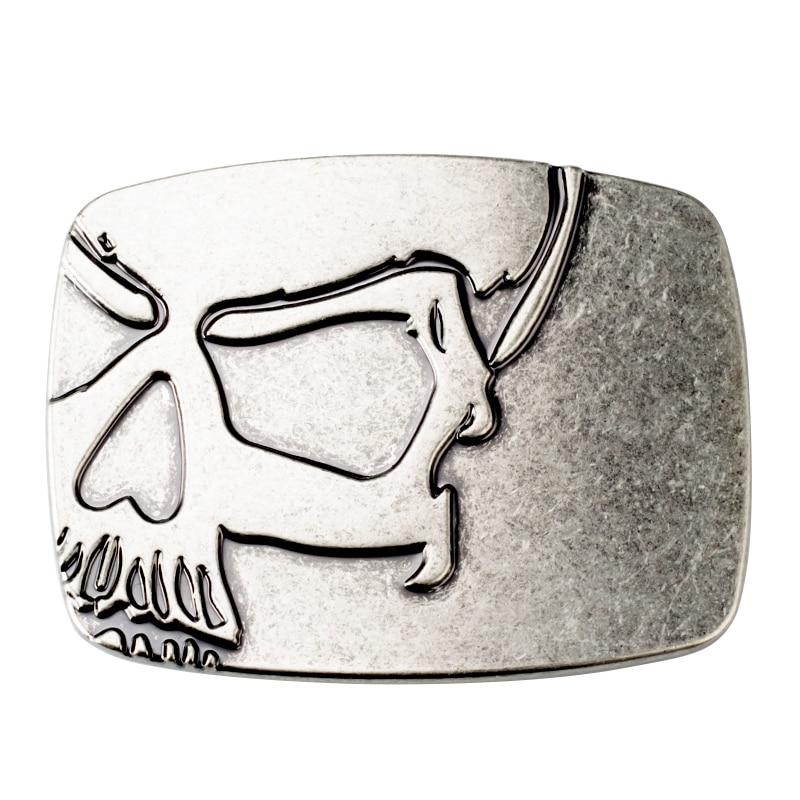 Skull Alloy Simple Man Metal Belt Buckle 4.0CM