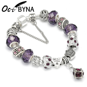 Fashion Purple Crystal Charm B