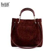 BRIGGS Vintage Women's Bag Shoulder Female Luxury Suede Leather Messenger