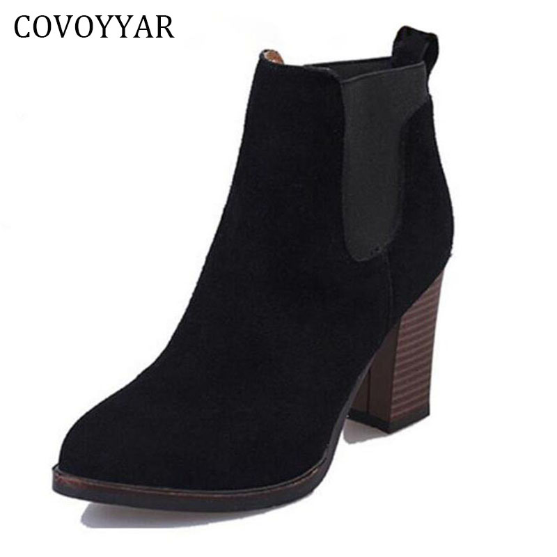 COVOYYAR Classic Thick Heel Women Ankle Boots 2019 Autumn Winter Lady High Heel Martin Boots Booties Black Shoes Women WBS267 in Ankle Boots from Shoes