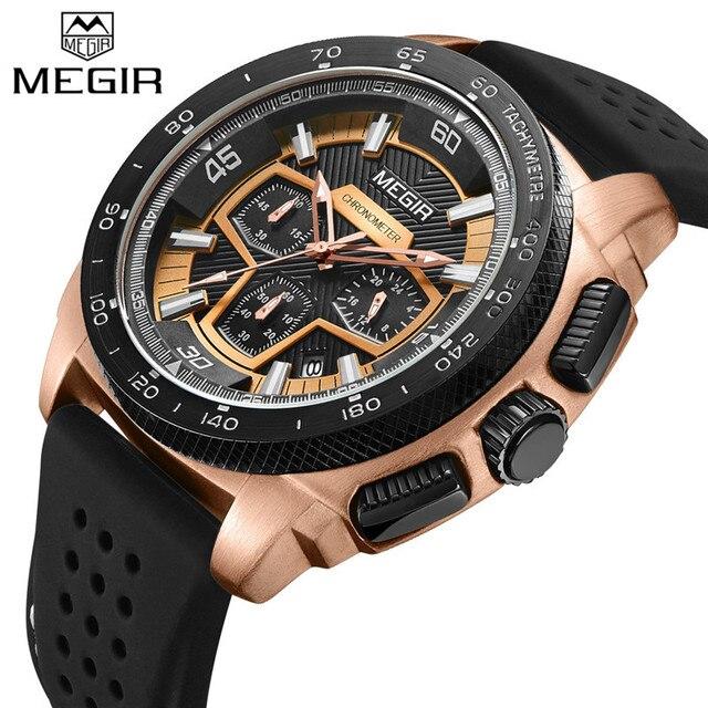 c2717934c2e6f MEGIR hommes montre Top marque de luxe chronographe 3D Dail Sport montre-bracelet  militaire armée