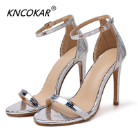 KNCOKAR Women Sandals Sexy High Heel Elegant Buckle Strap Open Toe Pumps Party Shoes x1124