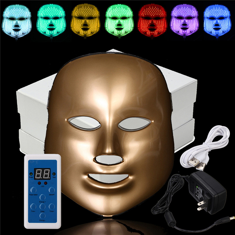 7 Colors LED Face Mask LED Photon Facial Mask Wrinkle Acne Removal Spa Device Skin Rejuvenation White Facial Masker US Plug beurha 7 colors pdt photon led facial mask wrinkle acne removal face skin rejuvenation facial care beauty salon light therapy