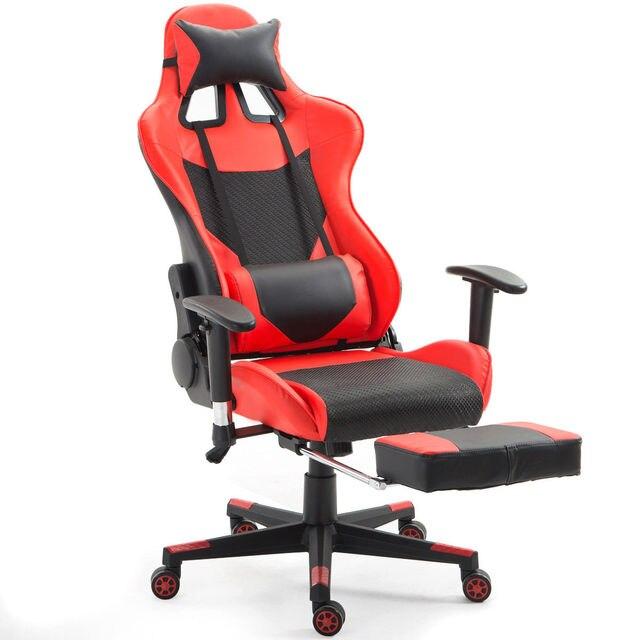 Silla de juegos ergonómica Giantex silla oficina carreras espalda alta con  soporte Lumbar y reposapiés modernos muebles reclinables HW56576RE