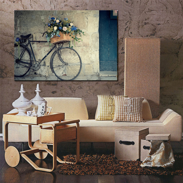 Retro Fahrrad Leinwand Malerei Günstige Moderne Gemälde Wand Bild