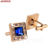 Men's Blue & Gold Crystal Square Wedding Shirt Cuff Links Cufflinks Party Gift #H058#