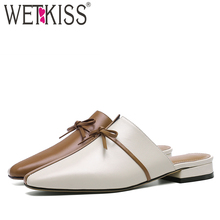 WETKISS Cow Leather Slippers Women Square Toe Low Heels Footwear Butterfly Knot Slides Shoes Mules Shoes Woman Summer 2019 New