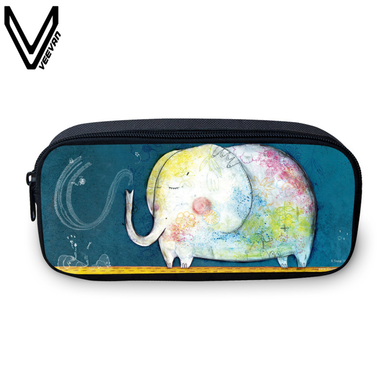 VEEVANV Cute Animal Printing Case For Student Study Multi Colors Elephant Study Box Casual Printing Make Up Bags Kids Gifts