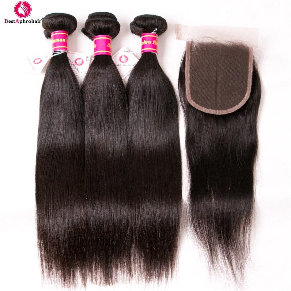 Aphro Hair Cambodian Straight Hair Bundles With Closure Free Part 100% Human Hair 3 Bundles With Closure Non Remy Hair Extension