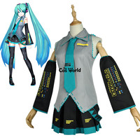 Vocaloid Hatsune Miku Tops Dress Uniform Outfit Anime Customize Cosplay Costumes Wig Shoes