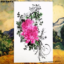 Nu-TATY Buddha Pink Daisy Temporary Tattoo Body Art Sleeve Arm Flash Tattoo Stickers 12x20cm Painless Henna Selfie Tatoo Tattoo
