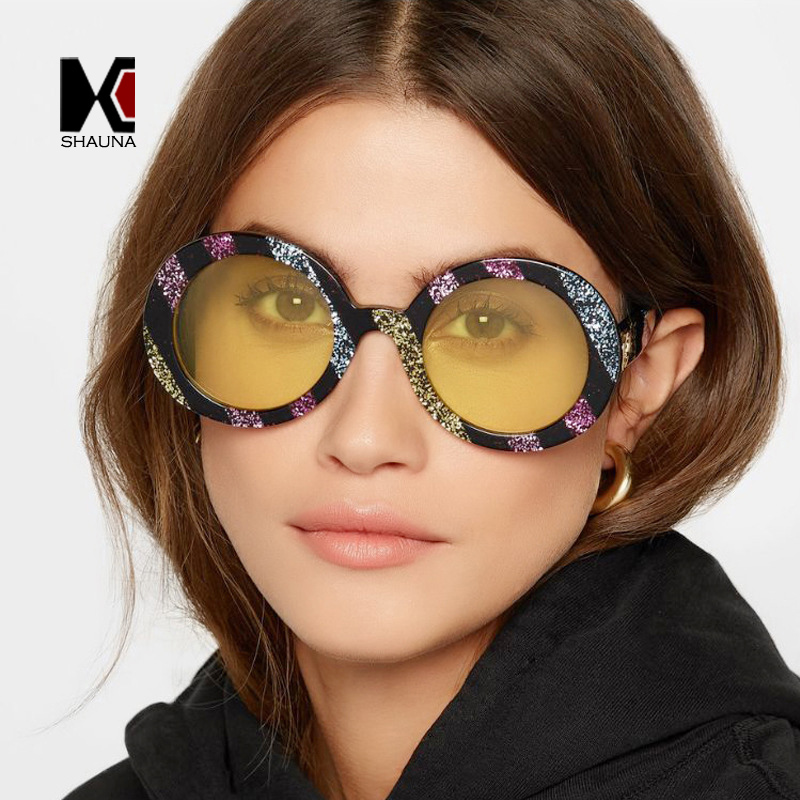 7b10636a4a97 SHAUNA New Arrival Mixed Color Glitter Frame Women Round Sunglasses  Trending Clear Yellow Lens Sun Glasses Men