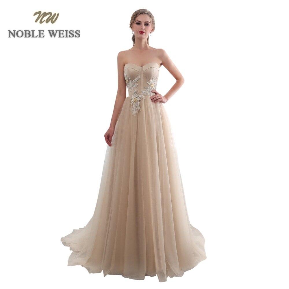 NOBLE WEISS chérie Champagne robes de soirée avec appliques longues perlées robes de bal formelle a-ligne Tulle robe de festa longo