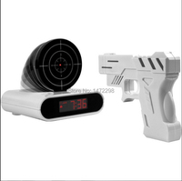 Novelty Gadget Funny LCD Gun Alarm Clock & Target Panel Shooting Game Toy Gifts