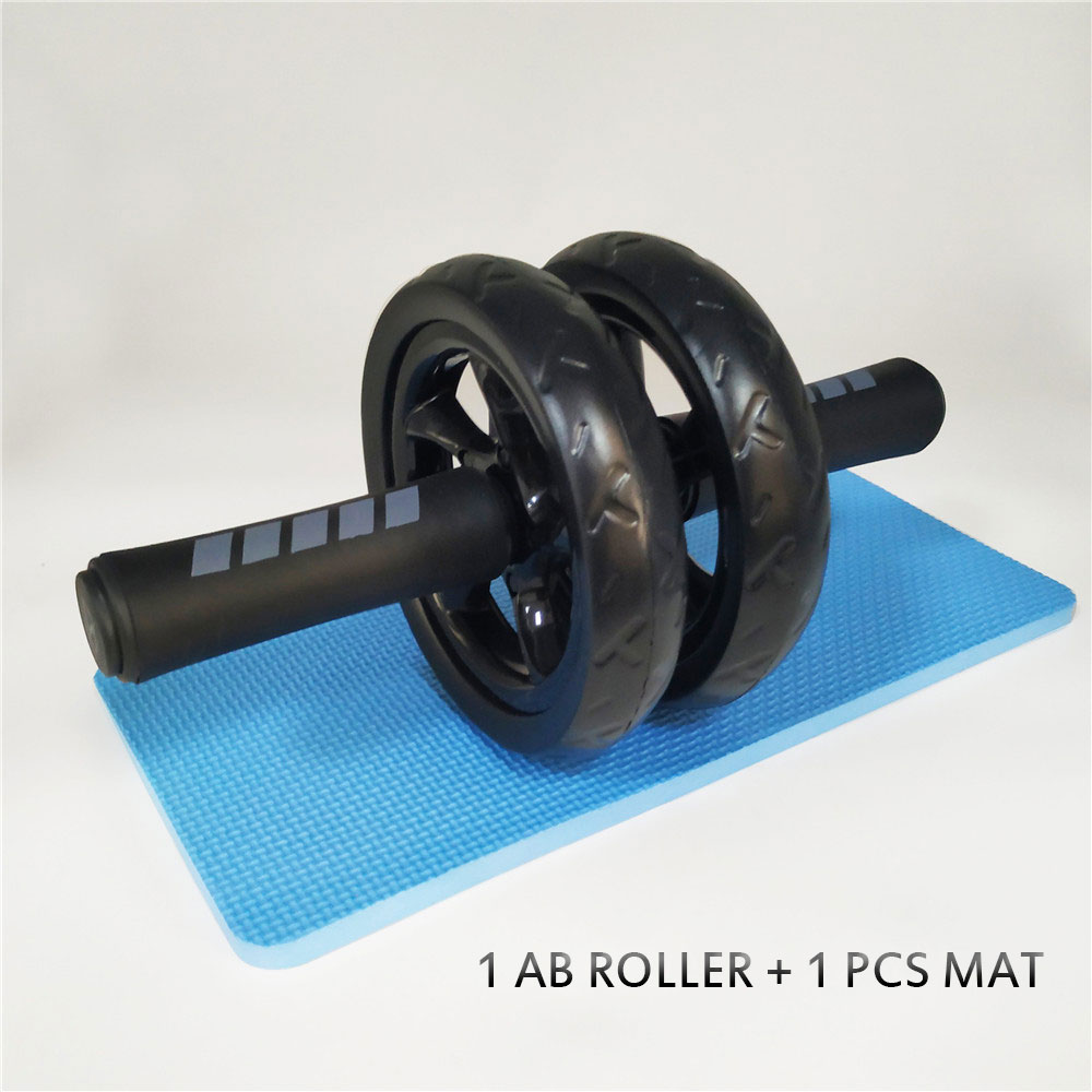 Brand New Keep Fit Wheels No Noise Double Abdominal Wheel Ab Roller With Mat For Exercise Fitness Equipment Man Women GYM A image