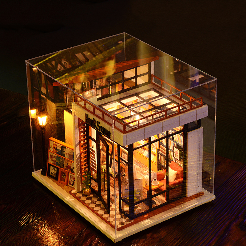 Miniature Dollhouse DIY Doll House Mini Casa Model With Furnitures LED Light Book Store House Gift Toys For Children A004 #E 3pcs flying doll house miniature dollhouse glass diy mini home ball hand housing with led lights wholesale