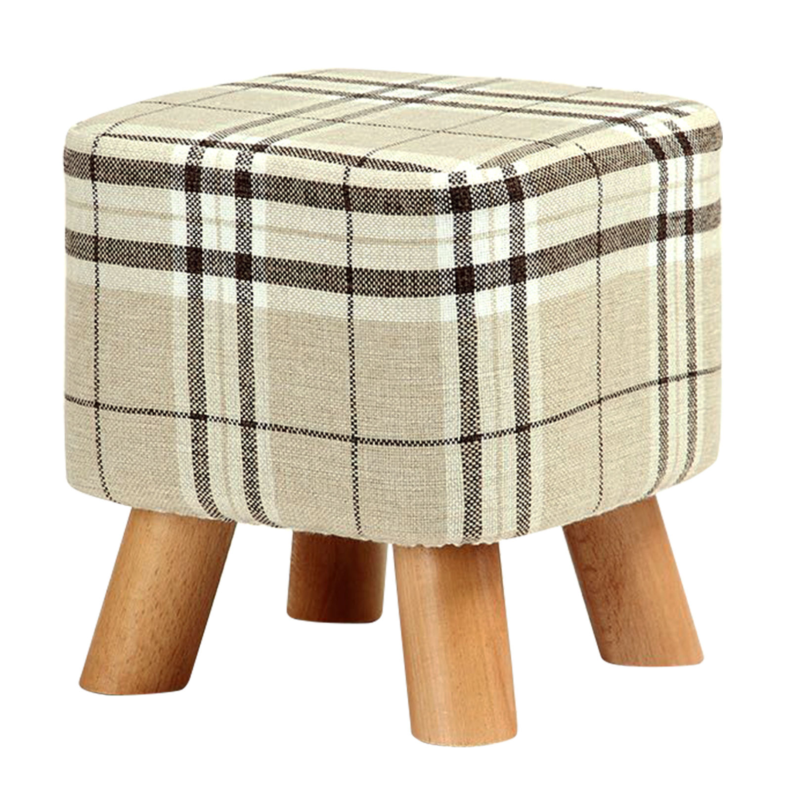 Modern Luxury Upholstered Footstool Pouffe Stool + Wooden Leg Pattern:Square Fabric:Big Checkered(4 Legs)Modern Luxury Upholstered Footstool Pouffe Stool + Wooden Leg Pattern:Square Fabric:Big Checkered(4 Legs)