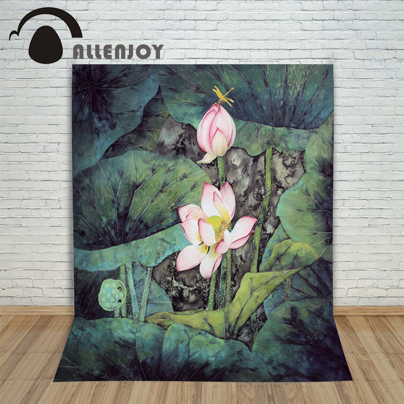 Allenjoy Vinyl photo studio Background Chinese wind Lotus painting landscape backdrops fotografia photographic paper free shipping superior quality contactor cjx2 0910 9a ac 220v 3p no contactor cjx2 09 lc1 d09 series 220vac ac contactor
