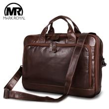 MARKROYAL Men's Retro Leather Briefcase Shoulder Bag Men Luxury Brand Messenger Bags Crossbody Handbag Tote For 15.6 inch Laptop