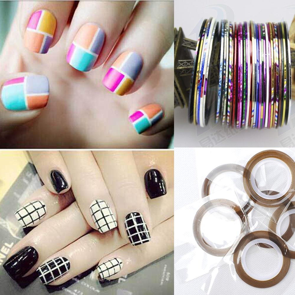 MIOBLET New 10Pcs Mixed Colors Metallic Yarn Line Nail Rolls ...
