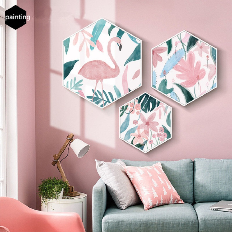 Original ins hexagonal nordique salon peinture décorative flamant rose entrée peinture restaurant peinture avec cadre