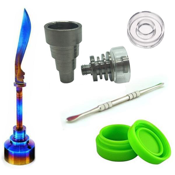 10mm 14mm 18mm Adjustable Titanium Quartz Hybrid Nail Tool Set with Rainbow Carb Cap Dabber Tool Slicone Jar Dab Container in Tobacco Pipes Accessories from Home Garden