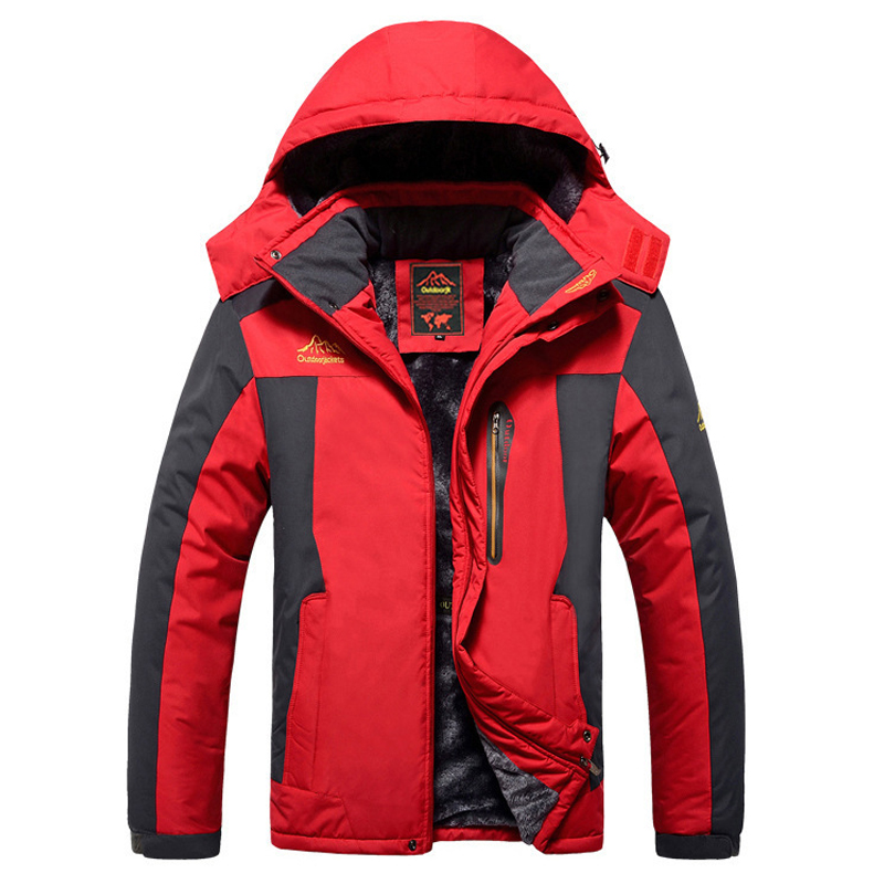drop shipping men winter jackets plus velvet warm windproof   parkas   mens military hooded coats outwear overcoat LBZ10