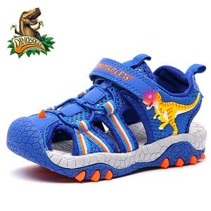 Image 3 - Dinosoles 아기 소년 샌들 라이트 업 메쉬 키즈 신발 3d 공룡 여름 해변 어린이 샌들 2019 led 빛나는 유아 신발