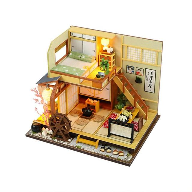 Japan Style Building Handmade Assembly Wood Hut DIY Miniature Dollhouse House Toy Birthday Gifts Diy Puzzle Model In Doll Houses From Toys
