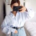 [Twotwinstyle] primavera de corea suelta linterna mangas lace up puños mujeres camisa nueva moda clothing