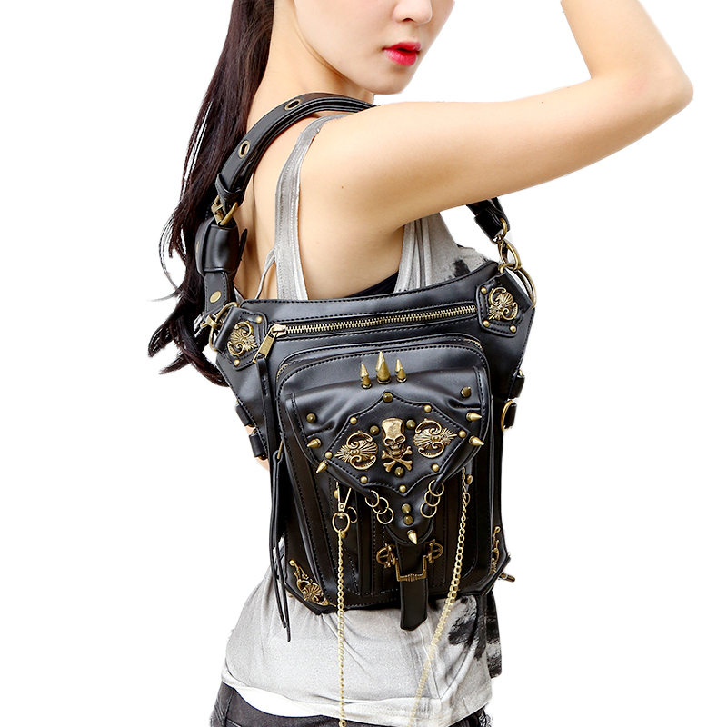 Black & Gold Mysterious Gothic Fashion Waist Bag
