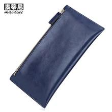Promotion Genuine Leather Women Wallets 2017 Double Zipper Clutch Bag Ladies Wallet Long Purses Card Holders Slim Clutch Wallet