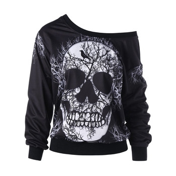 Women's Sweatshirt Pullover Long Sleeve Skew Neck Skull Print