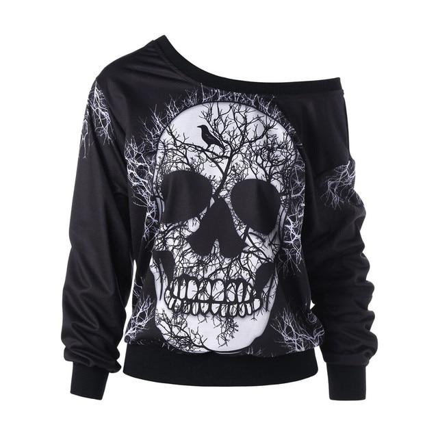 Women's Sweatshirt Pullover Long Sleeve Skew Neck Skull Print