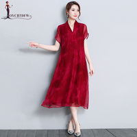 Summer Large size Women Silk Dress M 4XL 2018 New Fashion Pure Color Loose Mid Long Short sleeved V neck Casual Lady Dress NO248