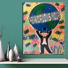 Alec Monopoly The World Is Yours Canvas Painting Posters Prints Marble Wall Art Decorative Picture Modern Home Decor HD
