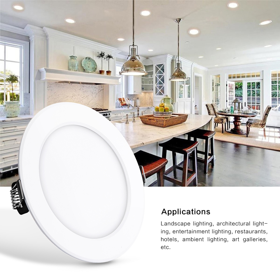 LemonBest 10W Round RGB LED Panel Light Concealed Recessed Lamp ...